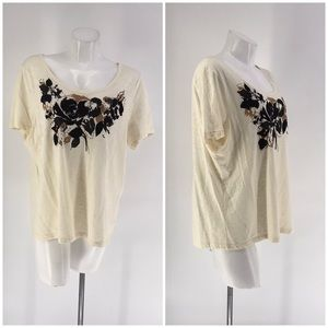 TALBOTS TOP Shirt Short Sleeve Floral 2X